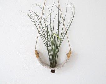 Hanging Air Plant Cradle (tm) Planter Vase   Speckled Buff Stoneware With  Gloss White