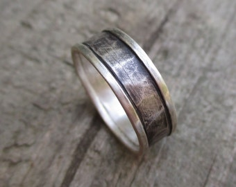 Wide Industrial Band.  Unisex, Mens, Womens Ring.  Blackened and Hammered