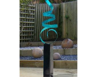 Aqua Indoor Outdoor Abstract Freestanding Sculpture, Handmade Home & Garden Decor, Large Modern Metal Art - Aqua Sea Breeze 24 by Jon Allen