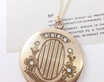 Antique gold filled flower round locket necklace | Edwardian Victorian Art Nouveau large locket pendant with rhinestones | stripe locket