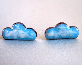 Cloud Scape Enamel Post Stud Earrings, Tiny Cloud Shaped Sky Blue and White Glass Enamel Kiln Fired on Copper with Sterling Silver Posts