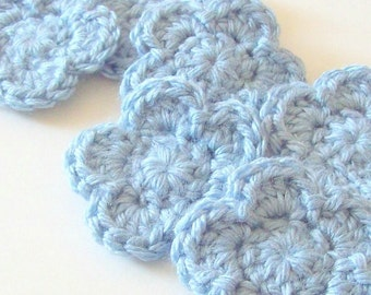 Blue Crochet Flower, Crochet Flower Appliques, Crochet Flower Embellishment, Set of 6, Crochet Flower Motif, Scrapbooking