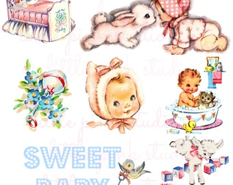 Sweet Baby DIGITAL collage sheet, instant download, printable collage sheet