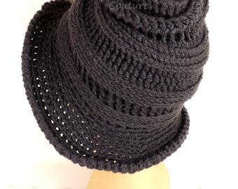 Crochet Hat Womens Hat Trendy Womens Crochet Hat, Steampunk Hat Graphite Hat, Gray Hat, VIRGINIA Wide Brim Hat for Women