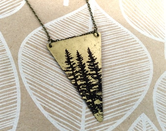 Long Necklace REVERSIBLE Triangle with Dark Side of the Moon / Pine Tree Print Raw Brass or Silver