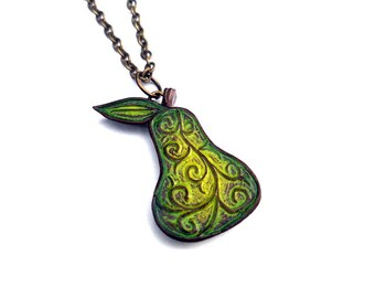 Rustic Pear Necklace. Pear Jewelry. Pear Pendant.