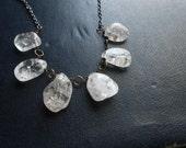 ghost waltz i - crackled clear rock crystal bib necklace - gemstone jewelry occult inspired festival fashion
