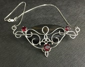 Statement Celtic Bohemian Renaissance Garnet Gemstone Necklace, Sterling Silver Renaissance Style Gemstone Necklace with Chain, OOAK Neck