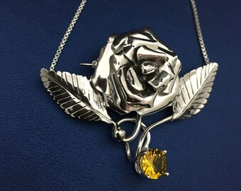 Rose Flower Necklace, Statement Rose Sterling Silver Rose Pendant, 15 Inch Box Chain, OOAK Custom Handmade Rose Jewelry
