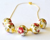 Dark Pink Rose and White Floral Japanese Tensha Beaded Gold Slider Necklace.