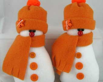 Snowman Ornaments, Set of 2, Christmas Ornaments, Holiday Decor Handmade Decorative Stuffed Snowman in Orange Fleece