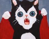 "Vampire Kitten Attacks! 5"" x 7"" Print"