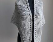 SALE - Hand Knit Shawl Stylish Comfort Prayer Meditation, Grey, Triangle, Chunky Soft Acrylic, Ready to Ship FREE SHIPPING