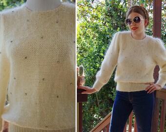 Fresh CREAM 1970's Vintage Creamy Soft Wool Angora Mohair Sweater w/ Cinch Waist + Rhinestones // size Medium