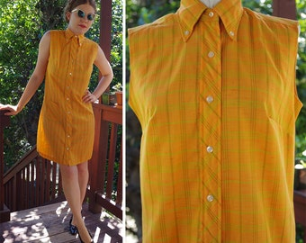 TANGERINE 1960's Vintage Orange Sorbet + Lime Plaid Sleeveless Shift Dress with Button Front // by Cos Cob Cobbies // size Small Med