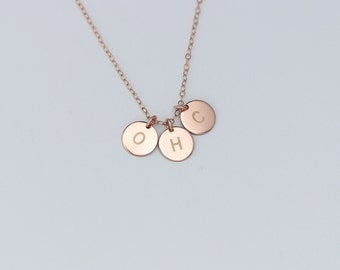 Personalized Three Four Initials Necklace, Monogram Rose Gold Charm Necklace, Sister Necklace, Best friends, Family Mothers Necklace