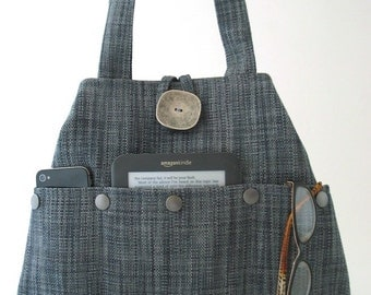 tote handbag, Blue bag, shoulder bag, tote bag, fabric purse, blue handbag, hobo bag , everyday bag, bag with pockets, ready to ship