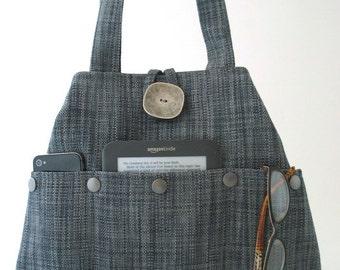 tote handbag, Blue bag, shoulder bag, tote bag, fabric purse, blue handbag, hobo bag , everyday bag, bag with pockets