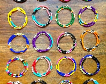 The PoP Color Collection - Glass Beaded Bracelets w/ Cast Metal, Wood and Frosted Glass Beads