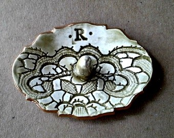 Personalized Ceramic Ring Holder  Letter R edged in gold