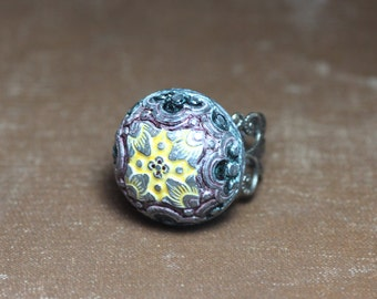 Colorful Cabochon Ring Antiqued Silver Adjustable Ring
