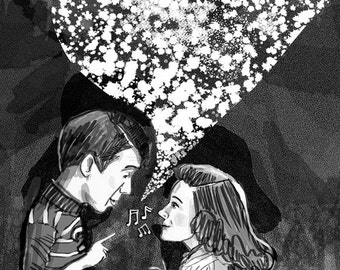 And dance by the light of the moon ... Ode to It's a Wonderful Life ... art print ... george and mary singing ... jimmy stewart • donna reed