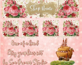 NEW Large Format pink Roses floral Etsy shop Banner graphics set by Sea Dream Studio  OOAK