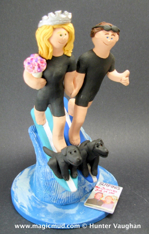 surfer wedding cake topper surfing and groom wedding cake topper surfers wedding 20657