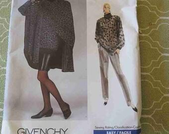 Vintage 80s Vogue Paris Original Givenchy Cape Top Skirt & Pants Sewing Pattern 12 14 16