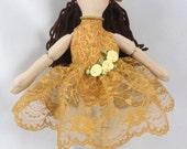 Ballerina Doll in Gold Tutu - Art Doll - Girl Toys - Ballet Dancer