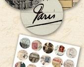 Vintage Italian, French Printables, 1.5-Inch Circles, Vintage Handwriting Download, Digital Vintage Circles, Script, Postcards - piddix 99