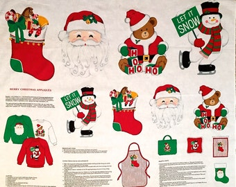 CHRISTMAS APPLIQUE Fabric Merry Christmas Snowman Santa Stocking Bear Appliques