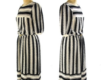 70s Striped Sweater Dress / Vintage 1970 Sheer Knit Dress in Black & White Variegated Stripe