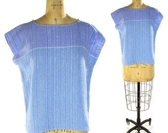 80s Woven Raw Linen Top / Vintage Laize Adzer Cap Sleeve Blouse in Sky Blue Handwoven Linen