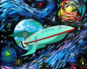 Futurama Art - Planet Express Starry Night print van Gogh Never Had It Delivered Express by Aja 8x8, 10x10, 12x12, 20x20, and 24x24 choose