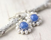 Blue Chalcedony and Pearl Wrapped Flower Earrings Silver