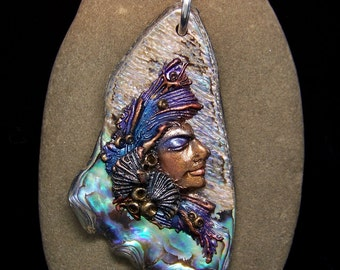 Mermaid on Paua Shell handmade Pendant or Bead Iridescent Paua Shell and Polymer Clay face