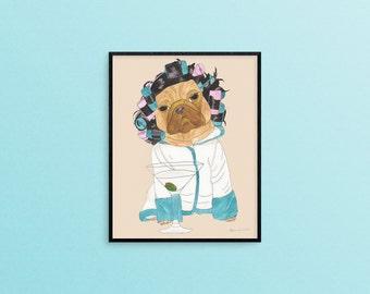 Pug Gift For Her, Funny Animal Art Print, Pug Dog Lover Art Gift, Dog Lover Gifts For Her, Gifts For Women Under 30, Best Friend Art Gift