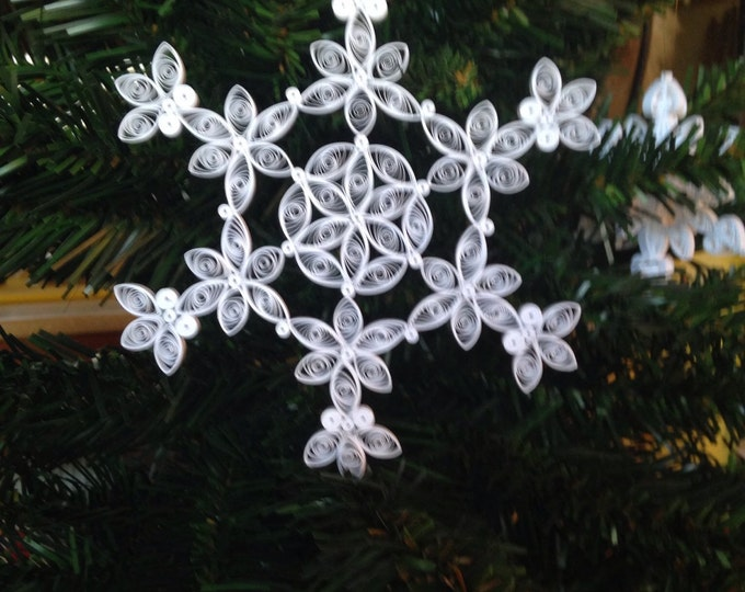 """Quilling, Snowflake design for 2013 """"Poinsettia flower"""" Ornament"""