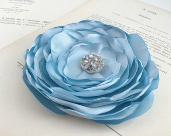 Light Blue Flower Brooch.Pin.Hair Clip.Bridesmaid.Headpiece.Satin.Baby Blue.corsage.hair accessory.hair piece.sky blue.powder blue.ice blue