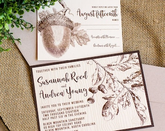 Oak and Acorn wedding invitation - woodland wedding - rustic wedding - autumn fall wedding invitation - oak tree invitation - acorn invite