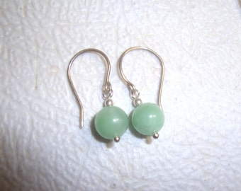 Simple earrings, Green Aventurine, solid silver, handmade entirely, 925 sterling silver, aventurine hook earrings, light green beads 8mm USA