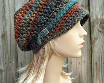 Womens Crochet Hat Womens Hat Newsboy Hat - Rust Teal Brown Newsboy Hat - Brown Hat Teal Hat Womens Accessories