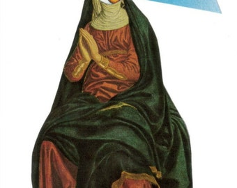 Disturbing Art, Unsettling Artwork, Oddball Wall Art, Kooky Collage on Paper, Strange Art, Weird Nun, Medieval Renaissance Kitsch