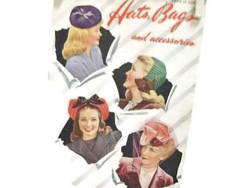 Vintage 1943 Hats, Bags and Accessories Knit And Crochet Instruction Book