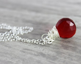 Apple Red Necklace, Sterling Silver Necklace, Quartz Gemstone Necklace, Bright Ruby Red, Small Pendant Necklace, Simple Wire Wrap Necklace