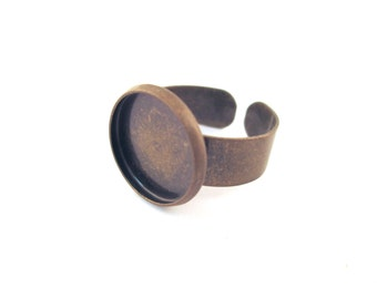 14mm brass plated bezel ring blanks with an open adjustable back, A94