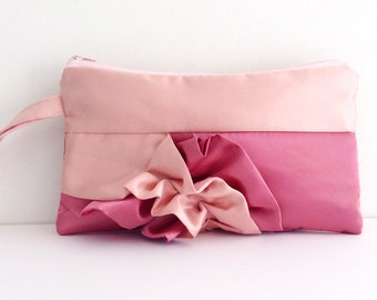 Dusty Pink and Mauve Pink Curve Ruffled Clutch