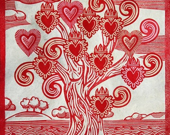 Tree of Hearts and Curls Print