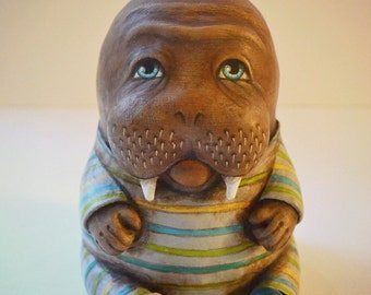 Walrus in Pajamas Anthropomorphic Original Hand Painted Folk Art Doll Paper Mache Sculpture OOAK